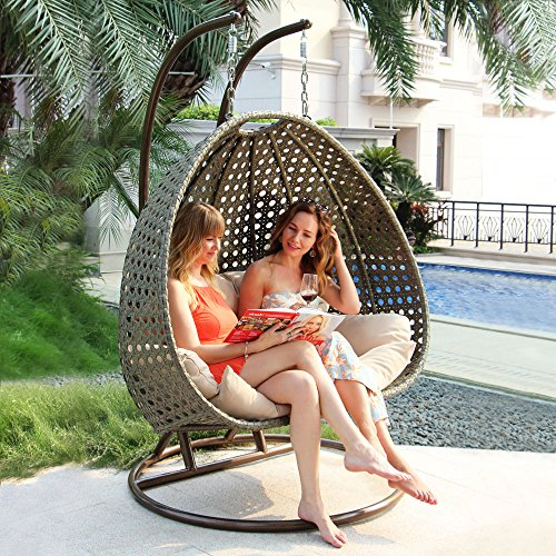 Island Gale Luxury 2 Person Wicker Swing Chair with Stand and Cushion Outdoor Porch Furniture Max.528 Lbs 2 Hanging Poles for Extra Safety - Perfect for Patio Garden Porch Indoor Bedroom Reading