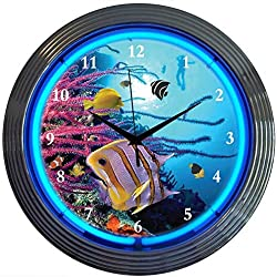 Neonetics Bar and Game Room Aquarium Neon Wall Clock, 15-Inch