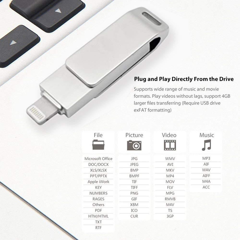 Amazon com: Mini 256GB Metal OTG USB Flash Drive for iPhone