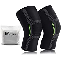 Knee Support Brace 2 Pack, Polygon Knee Compression Sleeve for Running, Arthritis, ACL, Meniscus Tear, Sports, Joint…