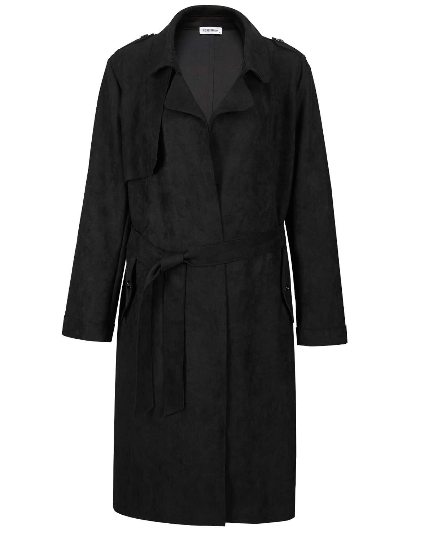 NOBLEMOON Women's Cardigan Outwear Long Sleeve Lapel Trench Coat Suede (Large, Black) by NOBLEMOON