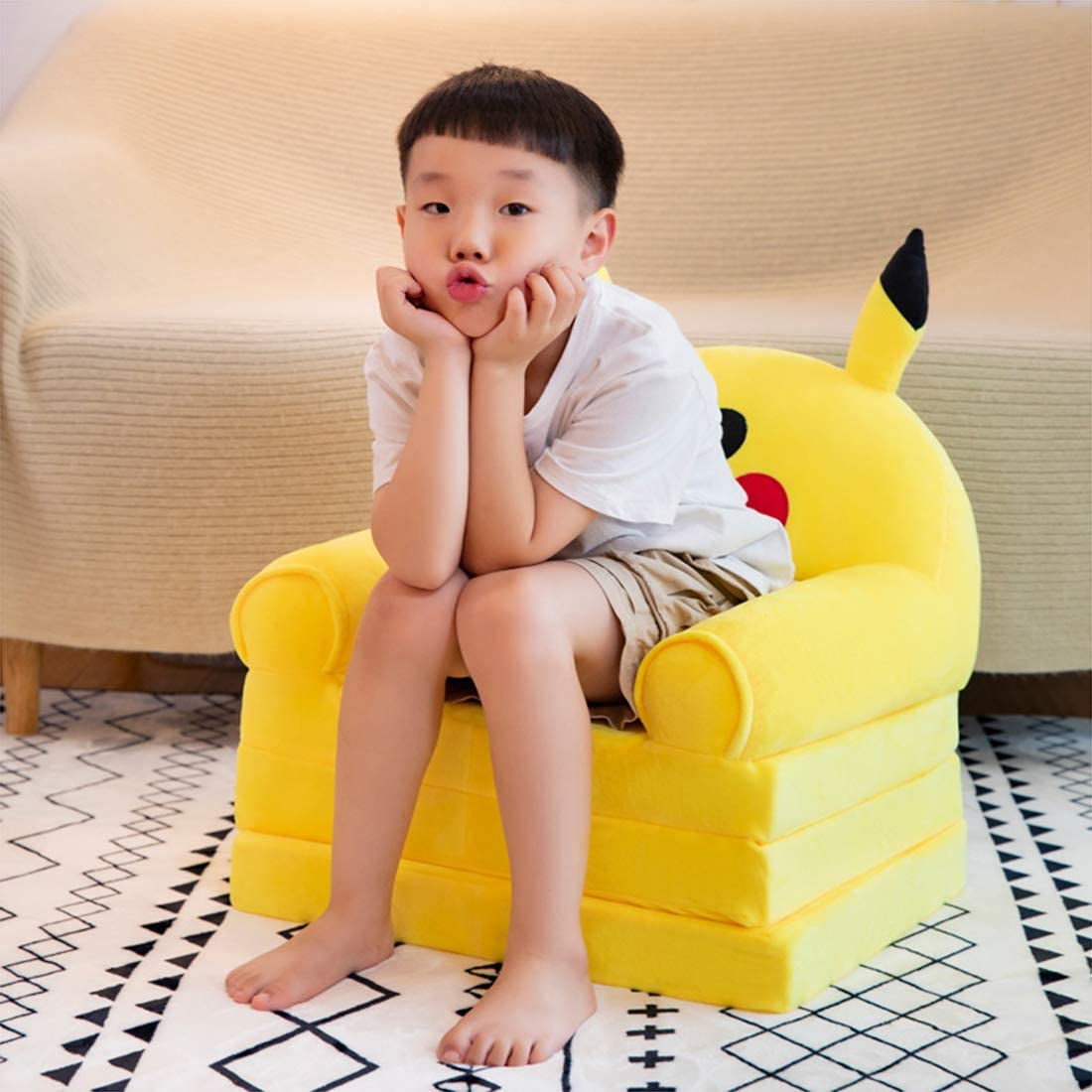 Removable and Washable Childrens Folding Small Sofa Pikachu Cute Lazy Lying Seat Kindergarten Stool