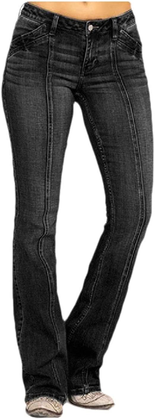Nicellyer Womens Bell Bottom Trim-Fit Washed Middle Waist Casual Denim Pants