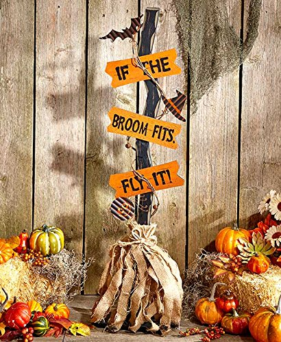 Halloween Witches' Brooms-If The Broom (Indoor Halloween Decorations)