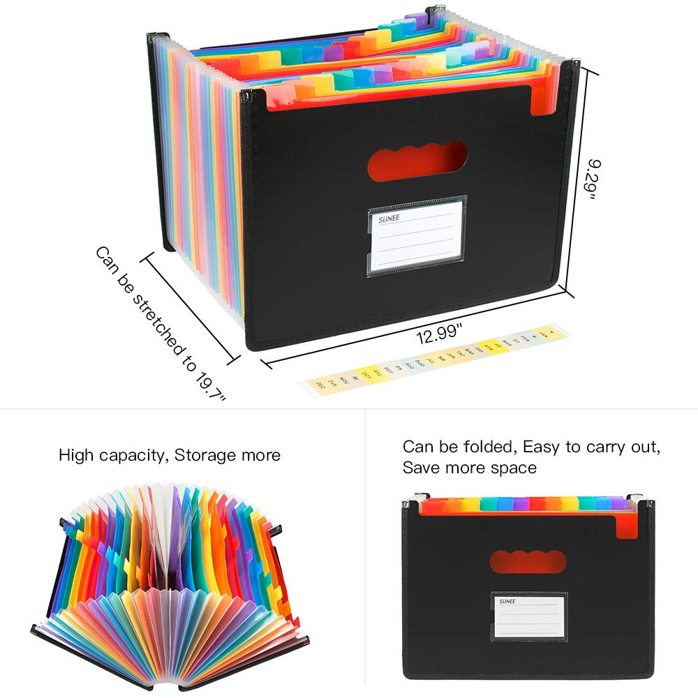 24 Pockets Expanding Files Folder, SUNEE Multi-Color Accordion A4 Document Organizer, High Capacity Plastic Expandable File Wallet Stand with Label Pocket for Business/Office/Study/Home