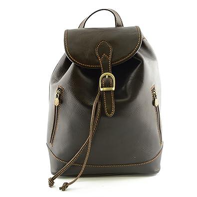Damen Leder Rucksack Farbe Dunkelbraun Italienische