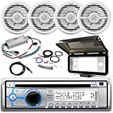 ClarionMarine 21' - 29' Pontoon Boat Audio Package: Single DIN CD/USB/MP3/WMA Bluetooth Stereo Receiver, 4 x 7 2-Way 100W Water Resistant Speakers, 4 Channel Amplifier, Amp Kit, Radio Cover, Antenna