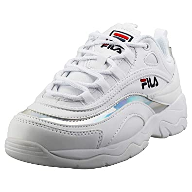 f0cabf460788 Fila Ray Womens White Metallic Silver Trainers  Amazon.co.uk  Shoes ...