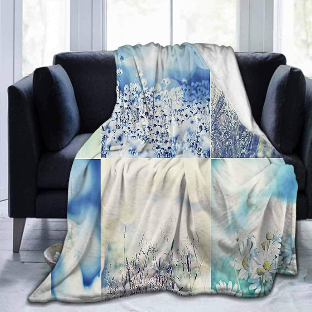 """dsdsgog Flannel Blankets Home Cute Soft Home Decor Collection,Spring Wild Flowers Themed Collage with Daisy and Violets in The Meadow Countryside Picture,Blue Beige,60""""x80"""" Small Throw Super Soft"""