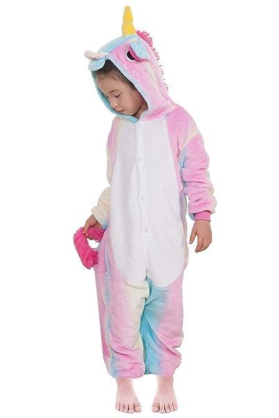 Kigurumi Pijama Animal Entero Unisex para Niños con Capucha Cosplay Pyjamas Unicornio Arco Iris Ropa de