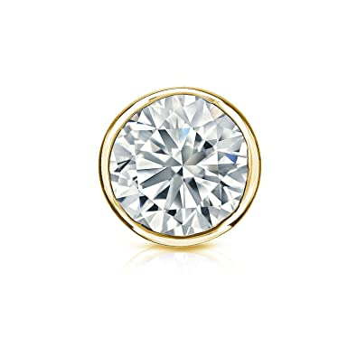 1a189d998fe1a Amazon.com: Diamond Wish 14k Yellow Gold Round SINGLE STUD Diamond ...