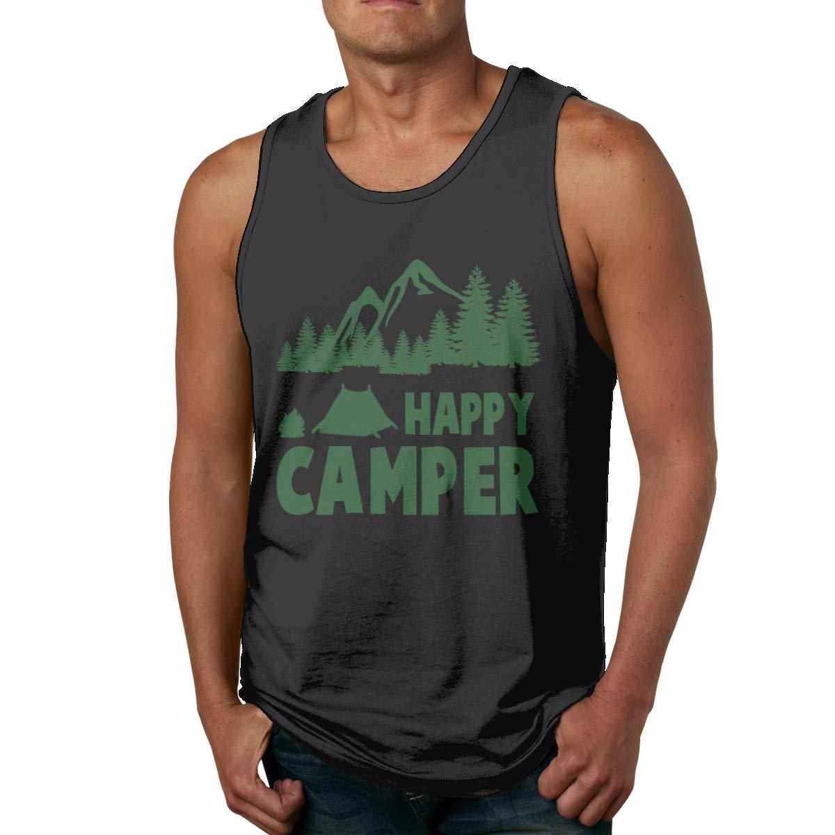 Happy Camper Sleeveless Tank Tops Shirt Fit Mens