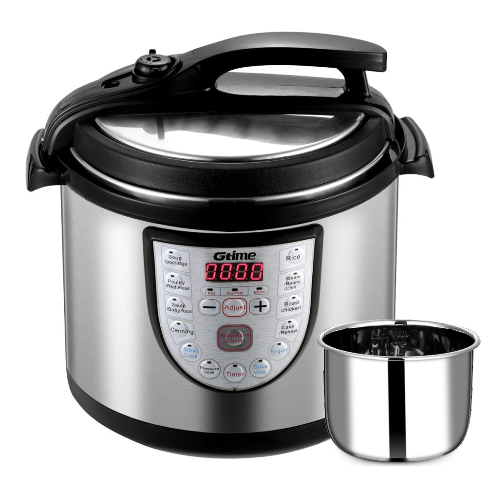 Gtime Electric Pressure Cooker 18-in-1 Programmable Multi-Cooker, Slow Cooker, Rice Cooker, Stainless Steel Inner Pot, Steaming Rack, Scouring Pad (6 Quart)