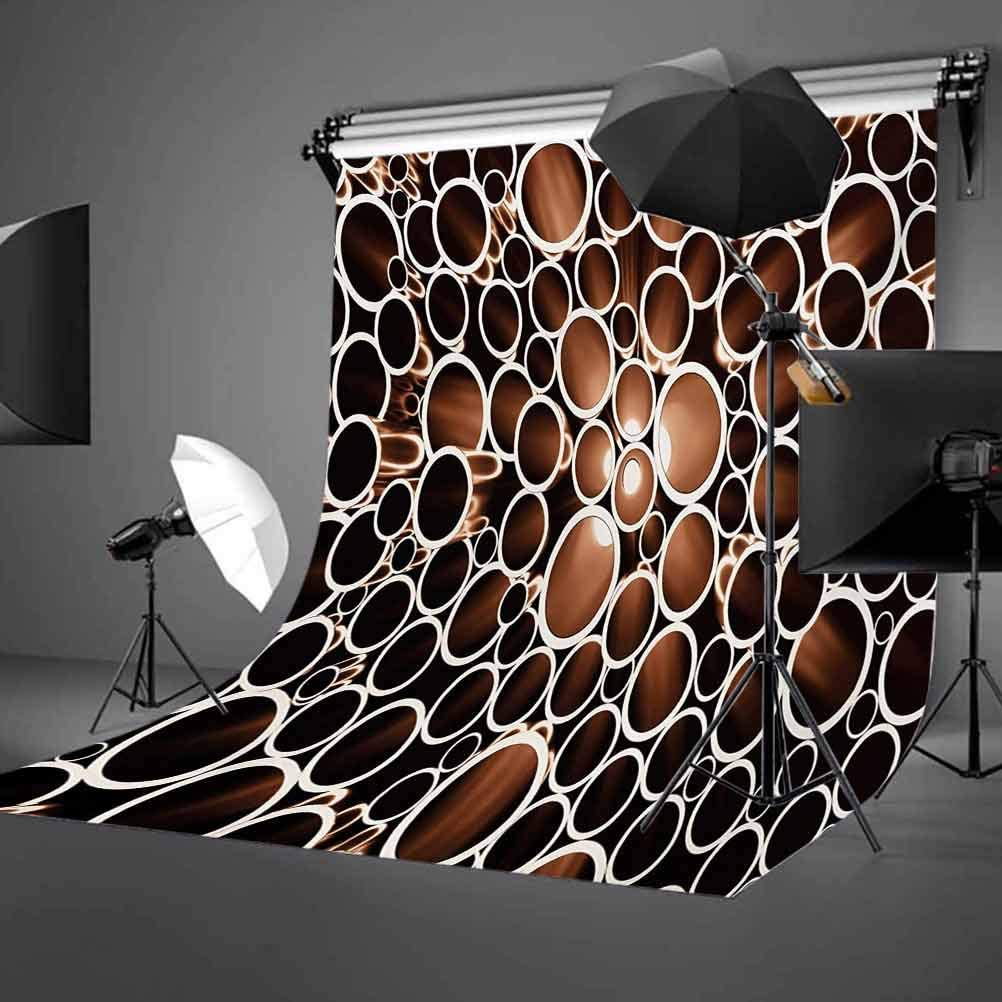 Round Pipes in 3D Style Construction Theme Modern Circles Print Background for Party Home Decor Outdoorsy Theme Vinyl Shoot Props Dark Brown Caramel Cream Industrial 6.5x10 FT Photography Backdrop