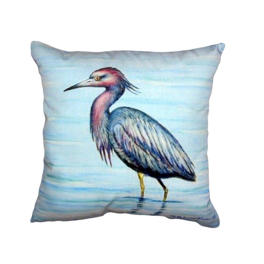 Betsy Drake NC492 Dicks Little Blue Heron No Cord Pillow 18 x18