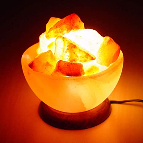Natural Himalayan Rock Salt Fire Bowl Salt Lamp With Wooden Base And Salt Chunks