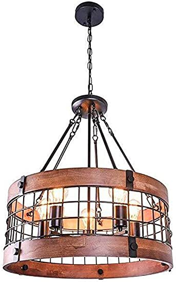 Rustic Wood Chandelier, Metal Round Dining Room Chandelier Lighting Farmhouse Kitchen Island Pendant Light Fixtures 5 Lights Edison E26 E27