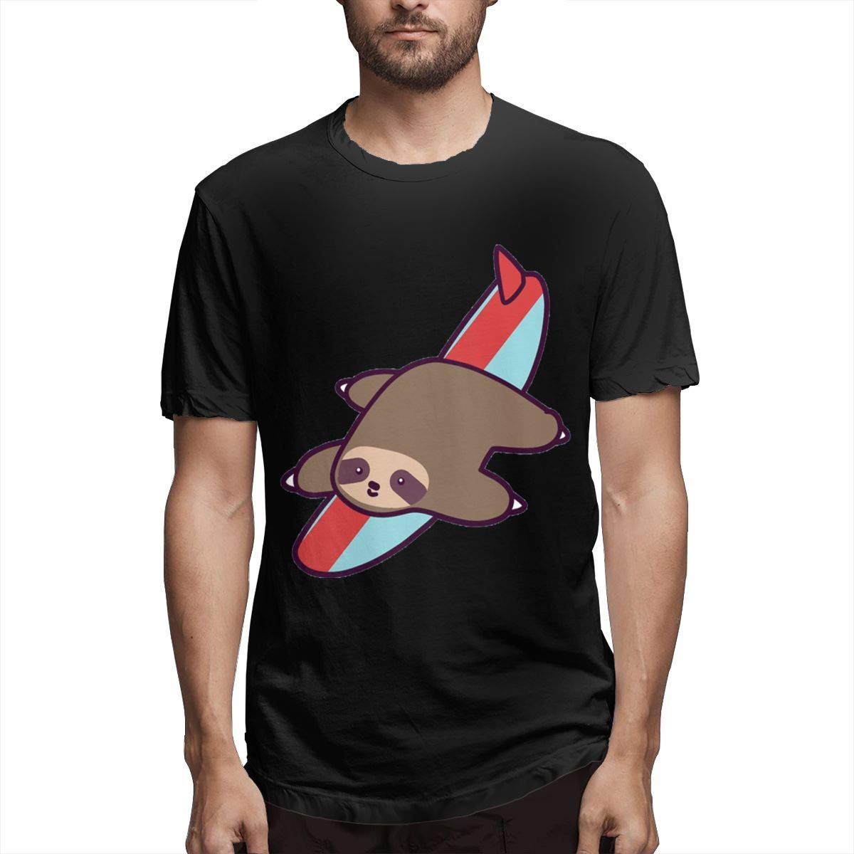 Smooffly S Surfing Sloth Comfortable Crew Neck Short Sleeve T Shirt
