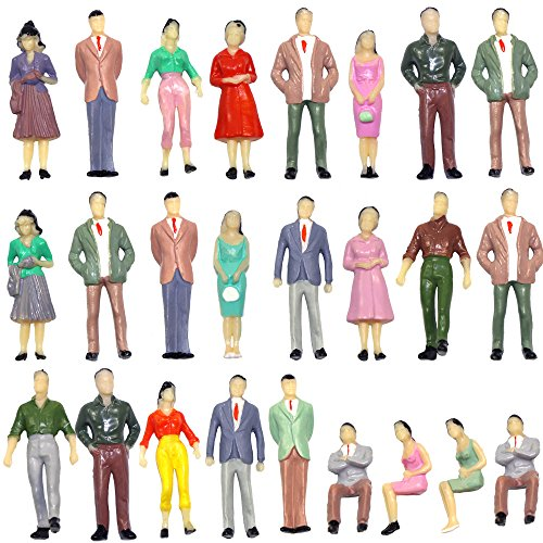 (P50 50 PCs Model Trains Architectural 1:50 Scale Painted Figures O Scale Sitting and Standing People for Miniature Scenes New )