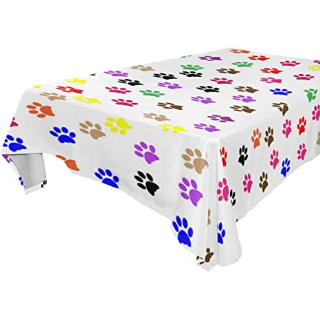 .com : dog paws print dinner tablecloth polyester indoor ...