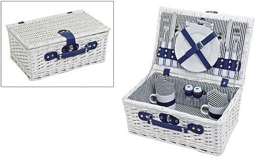 LOVERSpack Cesta Picnic Romántico Mimbre Blanca y Rayas Azules Completa con Vajilla de Porcelana, Cuberteria y Copas para 2 Personas Cesta de Mimbre de Picnic Cesta de Mimbre de Madera Blanca: Amazon.es: