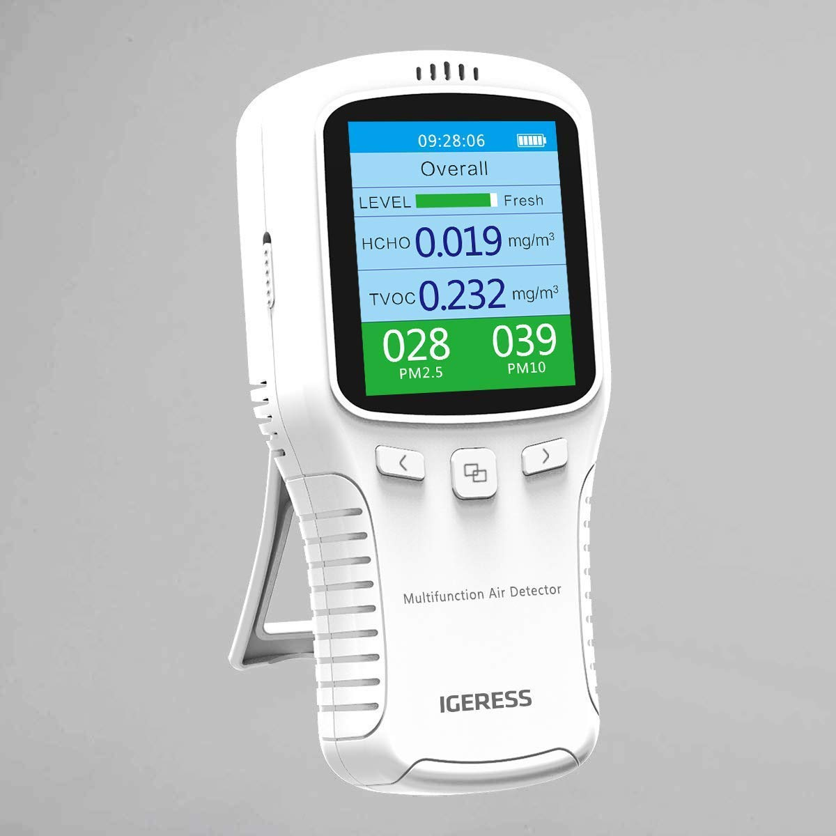 Air Quality Detector IGERESS Multifunctional Indoor Air Quality Meter Monitor with Colorful LCD Screen and Holder for Formaldehyde (HCHO) VOC PM2.5 PM10 Accuracy Tester (White)