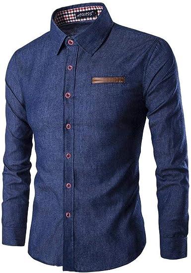 Crystallly Camisa De Mezclilla Hombres De Moda Los De Regular Fit Estilo Simple Camisa De Ocio