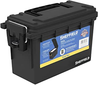 product image for Sheffield 12629 Field Box | Great Pistol, Rifle, or Shotgun Ammo Storage Box (Black) | Safe and Tamper-Proof with 3 Locking Options | Stackable and Water Resistant | Made in The U.S.A (2-Pack)