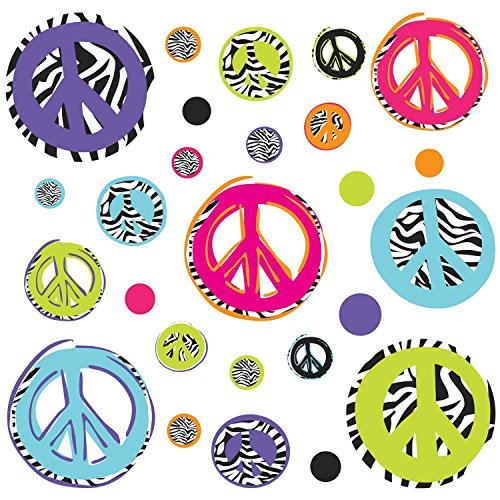 RoomMates Zebra Peace Signs Peel and Stick Wall Decals