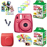 Fujifilm Instax Mini 8 Film Camera (Raspberry) + 2 Twin Packs Instax Film (40 Shots Total) + Pleather Protective Camera Case + Photix 5-Color Frame Set + Decorative Stick-on Frames - 20 Designs