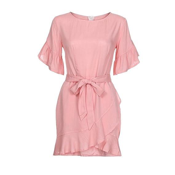 BBestseler 2018 Moda Verano Casual Playa Vestido Sólido, Volante de Manga Corta Mini Vestido Vestido