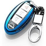 カーリモコンカバーキーセットキーケースに適してニッサン日産Nissan Teana エクストレイル X-TRAIL QASHQAIムラノKICKS TIIDA Maximaリモコン装飾保護アクセサリー (blue)
