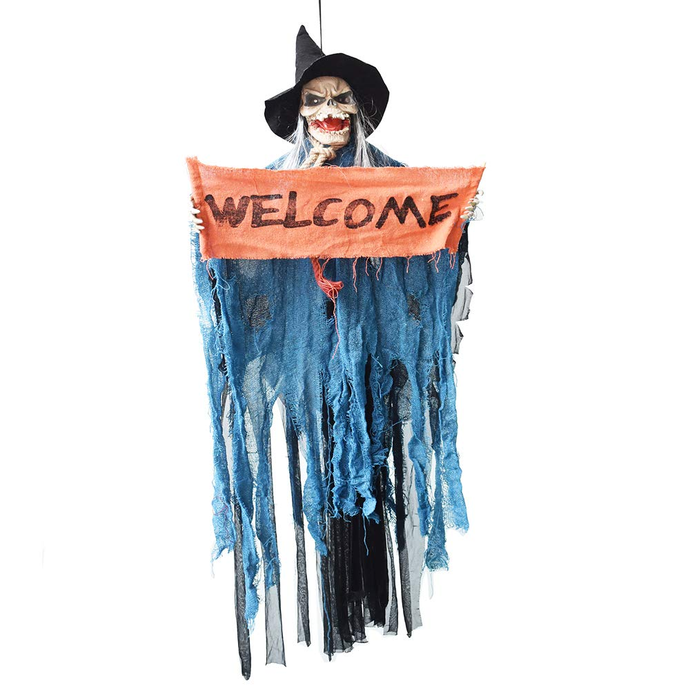 XONOR Hanging Animated Sound Touch Activated Talking Skeleton Ghost Halloween Decoration Glowing Red Eyes, 4ft/122cm Tall