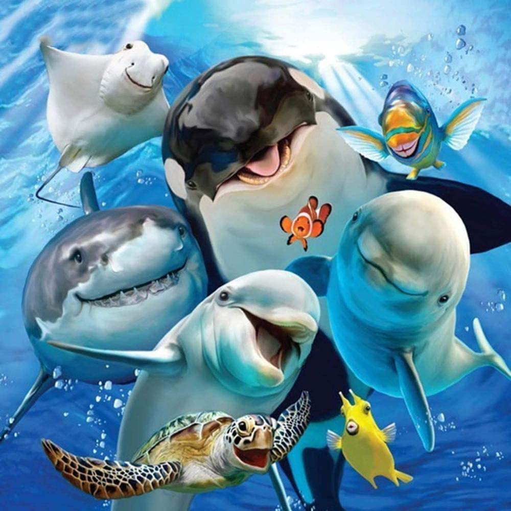 LSDAMW 5D Diamond Painting Kit Dolphins Sharks Turtles Full Drill for Adults Paint with Diamonds Art Rhinestone Embroidery Cross Stitch Craft Decor (35x35 cm/ 14x14 inch)