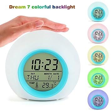 ESHOO Relojes para niños, reloj despertador digital 7 colores Sonidos cambiantes de la naturaleza One