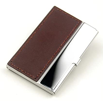 Amazon pocket business card case stainless steel leather pocket business card case stainless steel leather embossed credit id card holders business name card organiser reheart Gallery