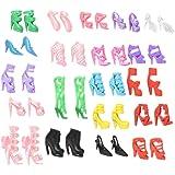 Isuper: 40pares de zapatos diferentes de tacón alto, botas, accesorios para muñeca Barbie