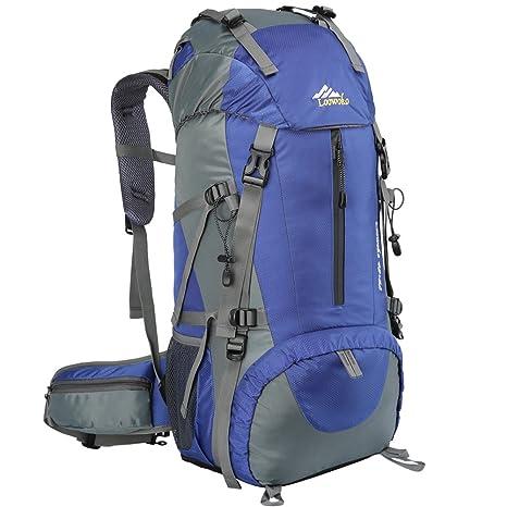 Loowoko 50L Impermeable Senderismo Mochila Montañismo Daypack Trekking Camping Deporte con Cubierta Lluvia Al Aire Libre