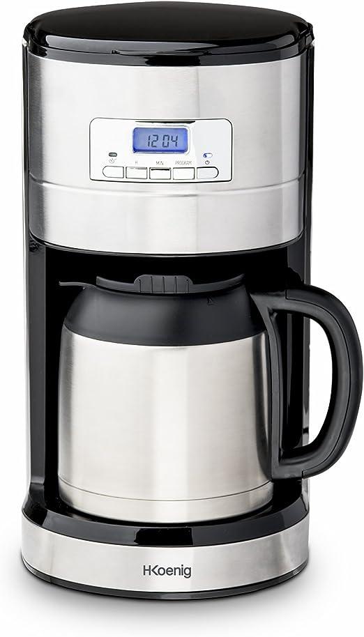 H.Koenig Cafetera de Goteo Programable, 10 Tazas, 1.2 Litro, 1000 W, Jarra Isotérmica, Acero Inoxidable STW26: Amazon.es: Hogar
