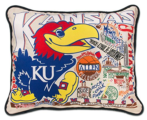KANSAS UNIVERSITY OF COLLEGIATE EMBROIDERED PILLOW - CATSTUDIO
