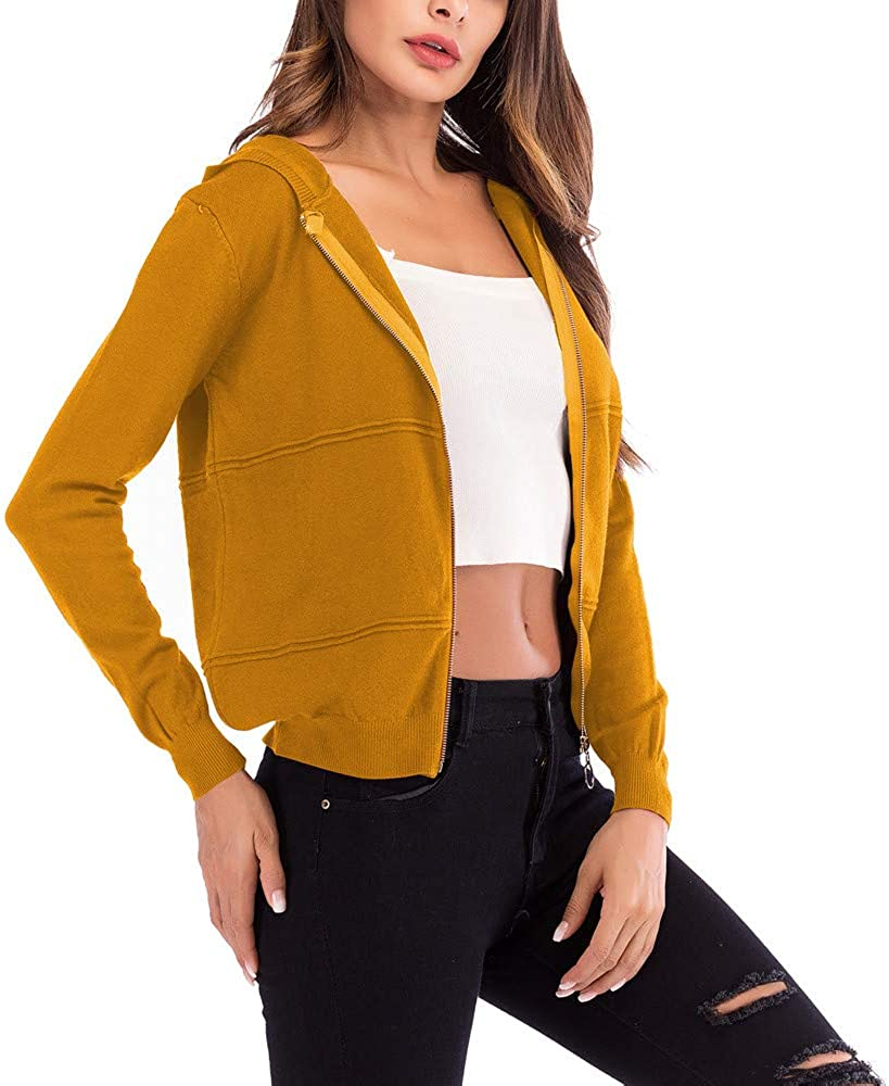 JOFOW Womens Cropped Cardigans,Solid Hooded Thin Coat Zipper Short Jacket Autumn Black Yellow Red Tops Outwear