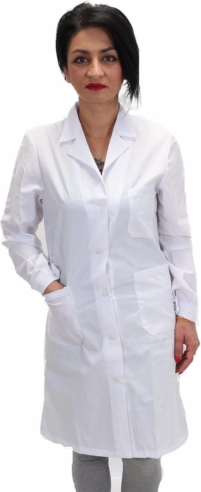 Petersabitidalavoro camisa de trabajo, blanco, laboratorio, escuela, para mujer hospitalario ligero mezcla algodón no-planchado blanco clásico largo: Amazon.es: Ropa y accesorios
