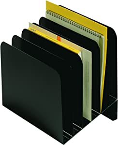 "Steelmaster Slanted Vertical File Organizer - 12"" H x 11"" W x 9.3"" D - Black, 1 Each (264S6BLA)"