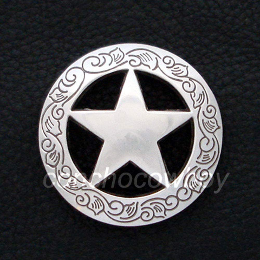 """WESTERN HORSE HEADSTALL SADDLE TACK ANTIQUE STAR CONCHO 1-1//2/"""" screw back"""