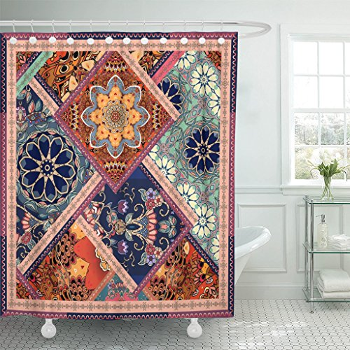VaryHome Shower Curtain Patchwork Pattern with Flowers Manda