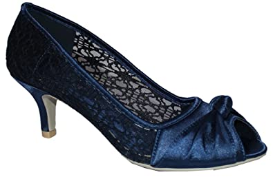 Absolutely Gorgeous Boutique Ladies Satin Lace Evening Wedding Party Low  Mid Heel Peep Toe Shoes Size UK 3-8: Amazon.co.uk: Shoes & Bags
