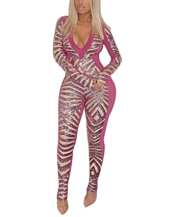a046c8a98c73 Vamvie Women s Bodycon Sexy Sequin Jumpsuit - Long Sleeve Bandage Sparkling  Clubwear Glitter Fringe Rompers One