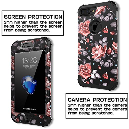 """iPhone 7 Plus Case,OBBCase [Heavy Duty] Three Layer Hybrid Sturdy Armor High Impact Resistant Protective Cover Case For iPhone 7 Plus(Only For 5.5""""),Rose Flower/Black"""