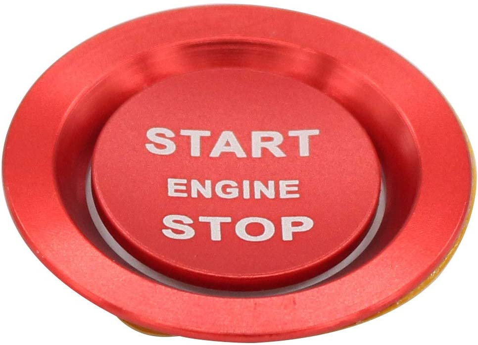 XtremeAmazing Red Car Engine Push Start Stop Button Switch Cover Cap with Surrounding Ring Sticker Trim