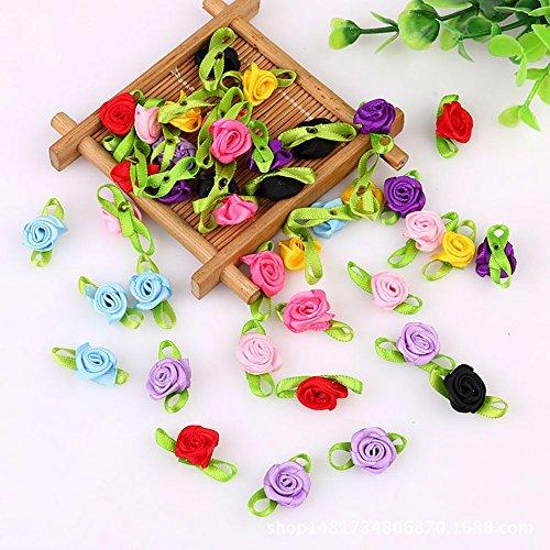 Gofypel Rose Flower Mini Ribbon Bows DIY Craft Artificial Ornament Applique Sewing Wedding Party Toy Decoration Appliques 100pcs(Multicolor)